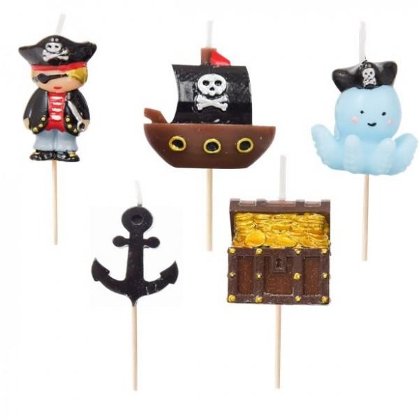 5 Captain Black Piraten Tortenkerzen
