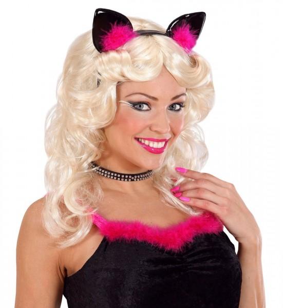 Haarreif mit pink-schwarzen Federkatzenohren