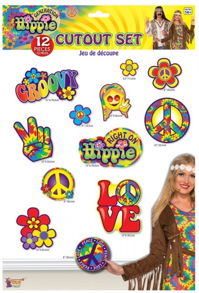12 Bunte Hippie Party Wandsymbole
