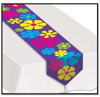 Lilafarbener Retro Flower Power Tischläufer