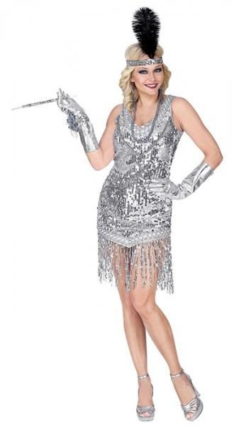 Silbernes 20er Jahre Flapper Kostüm Charlotte