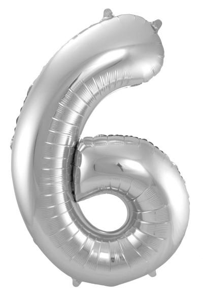 XXL Zahlenballon 6 silber 86cm