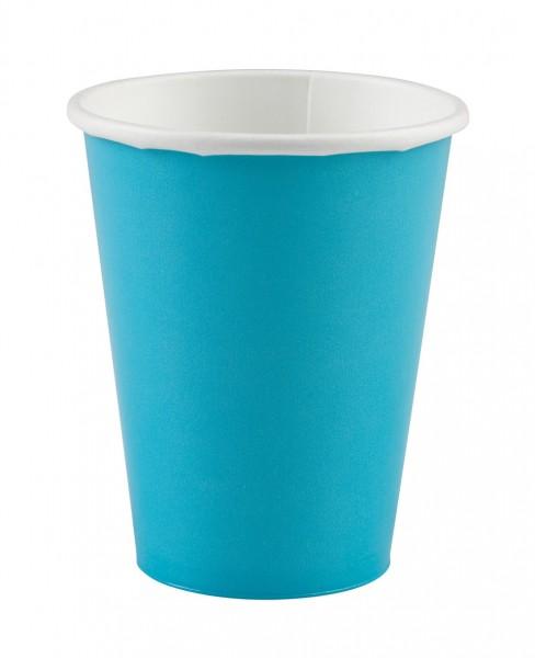 8 vasos de papel para fiestas en azul celeste 266ml