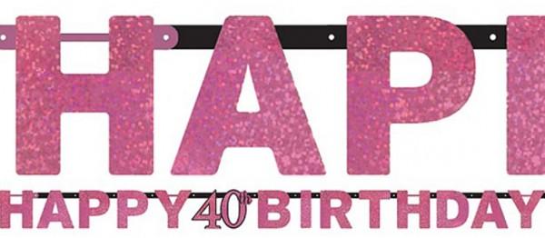 Guirnalda rosa 40 cumpleaños 2,13m