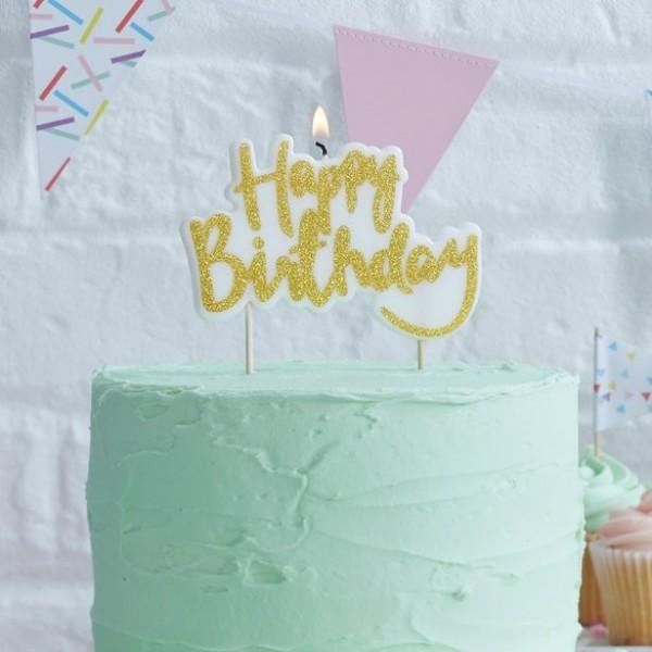 Vela de cumpleaños brillante oro 10cm
