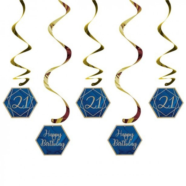 21st birthday navy blue hanging decoration set 5 pieces
