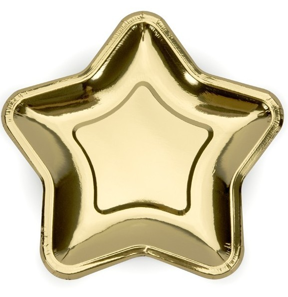 6 Goldrausch Stern Pappteller 23cm