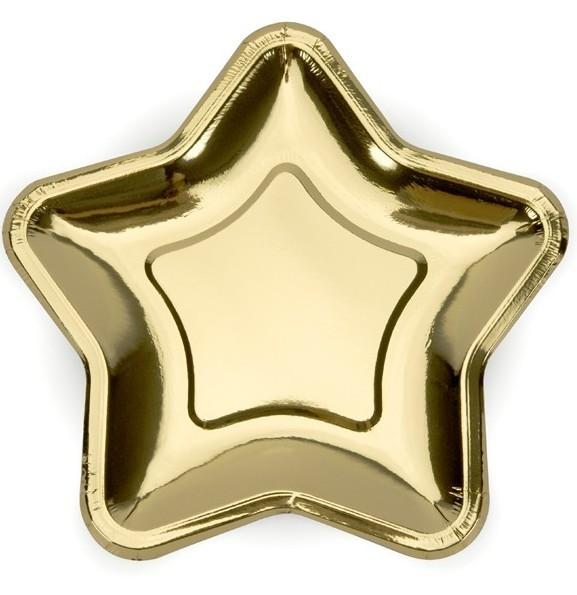 6 Gold Rush Ster papieren bord 23 cm