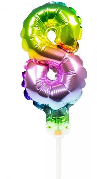 Ballon de décoration de gâteau arc-en-ciel numéro 8