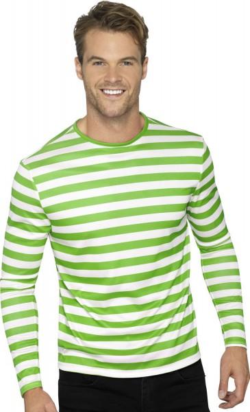 Camicia a righe a maniche lunghe verde-bianco