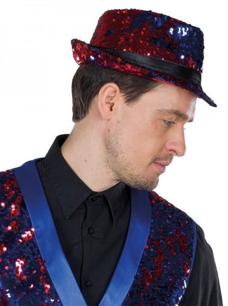 Roter Fedora Hut mit Wendepailletten