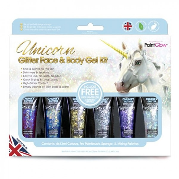 Glitzer Face and Body Gel 6-teilig