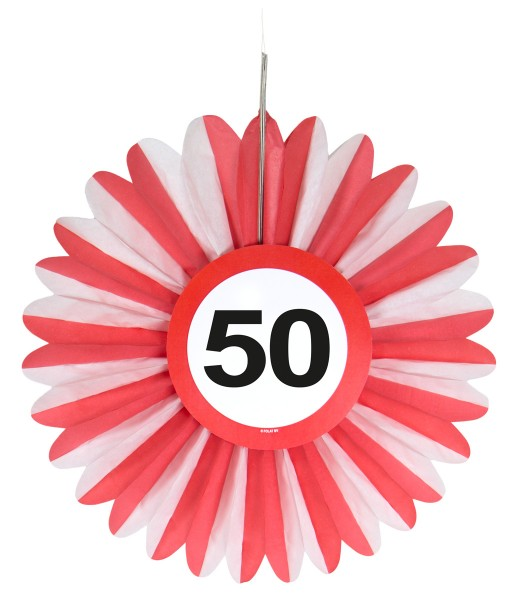 3 traffic sign 50 paper rosette 25cm