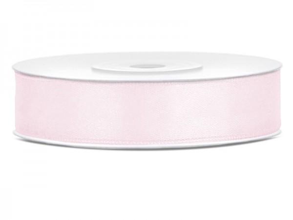 25m satynowa wstążka w proszku różowa o szerokości 12 mm