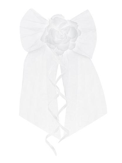 2 weiße Satinschleifen mit Rose 18cm