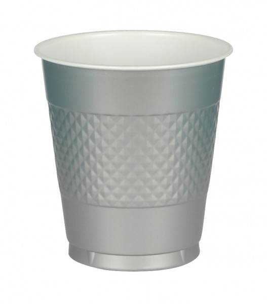 10 party buffet cups silver 355ml