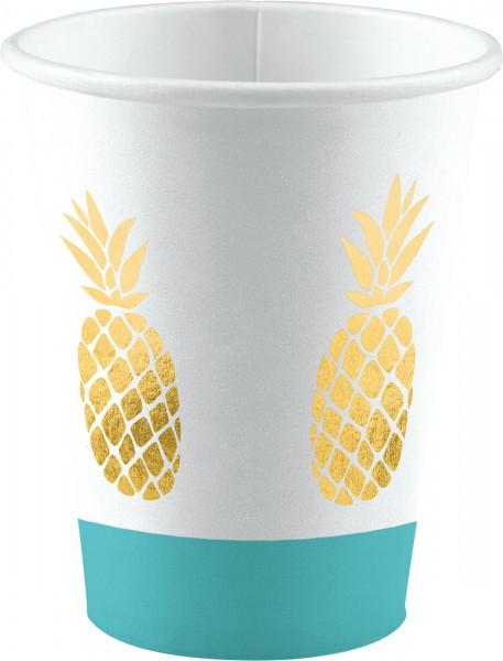 8 vasos de papel de piña de 250ml