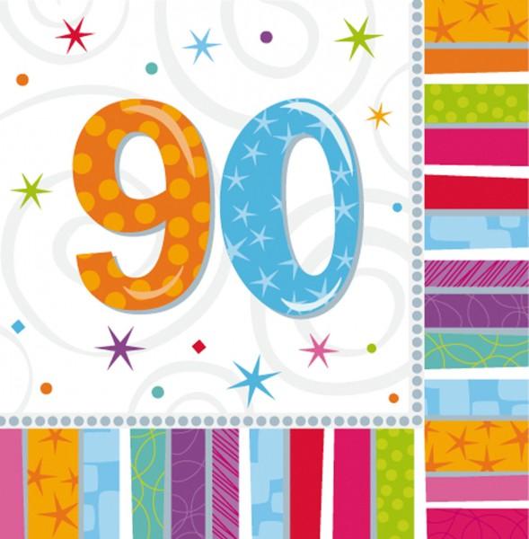 Bunte Regenbogen Serviette Zum 90.Geburtstag 16 Stück 1