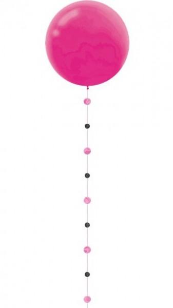 Zawieszka do balonu brokatowo-różowo-czarna 1,8m
