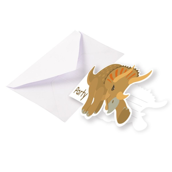 8 cartes d'invitation Happy Dinosaur avec enveloppe