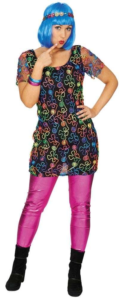 70er Jahre Neon Kleid Für Damen