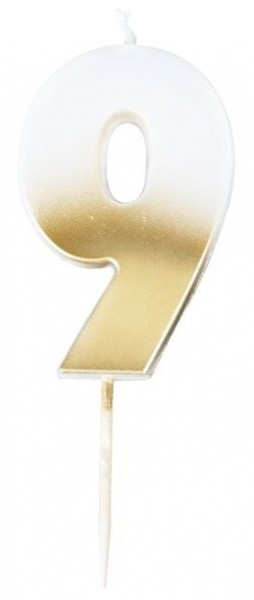 Zahl 9 Tortenkerze ombre gold