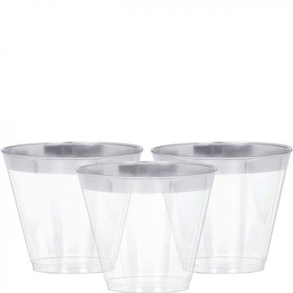 24 plastic drinking glasses with a silver rim 256ml