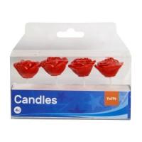 Rote Rosen Einsteck Kerzen 4 Stk