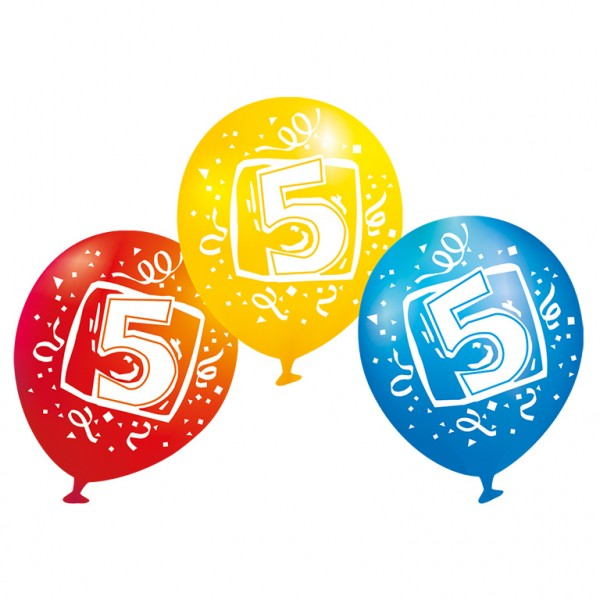 6 balloons number 5 colored 23 cm