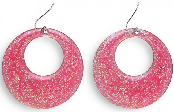 Disco Fever Glitzer Ohrringe Pink
