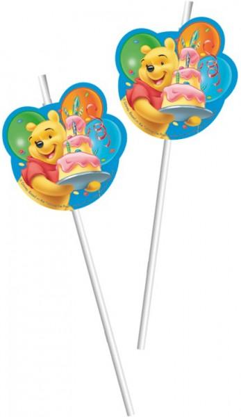 6 Birthday Winnie Puuh Strohhalme 24cm