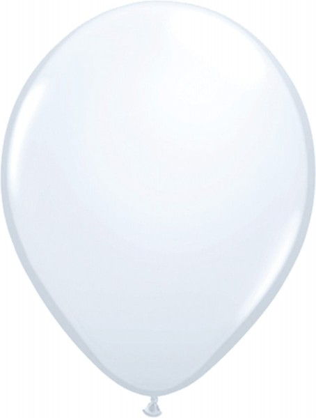 100 Latex Balloons White 30cm