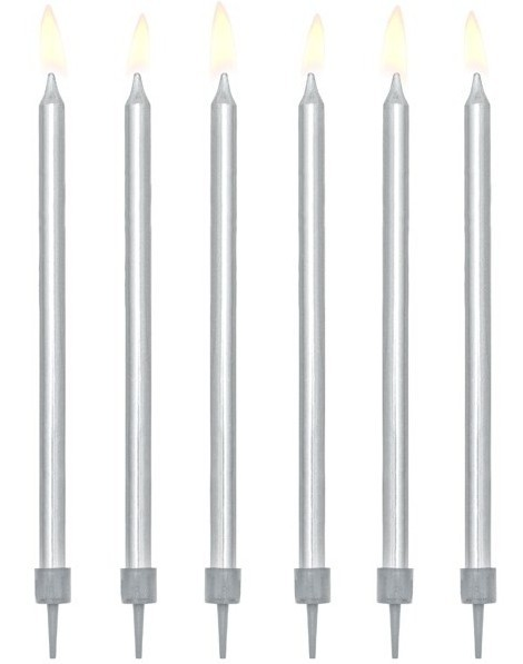 12 świeczek urodzinowych srebrny metalik z oprawkami