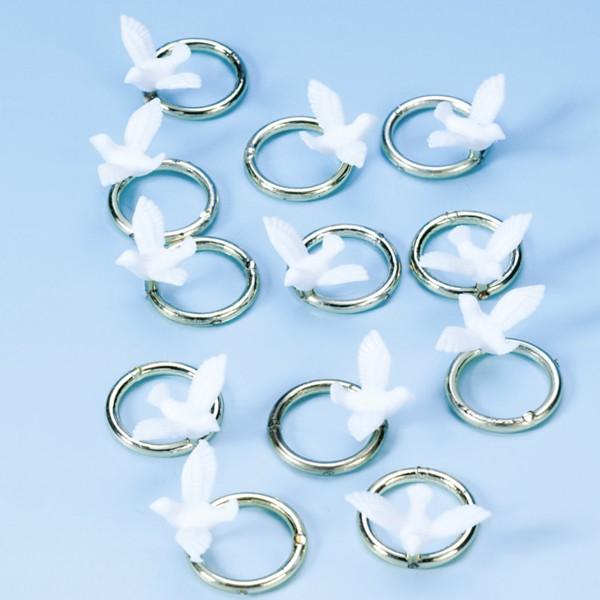 Hochzeits-Streudeko Ringe & Tauben 12 Stück