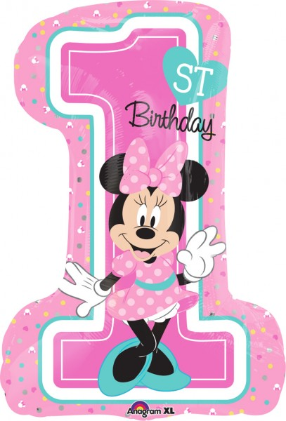Foil balloon Minnie Mouse 1st birthday figure