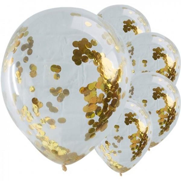 5 Konfetti Ballons transparent gold 30cm
