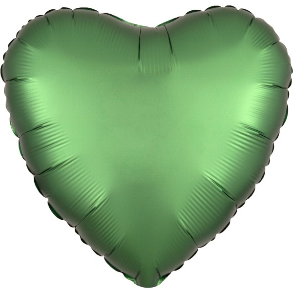 Noble satin heart balloon emerald green 43cm