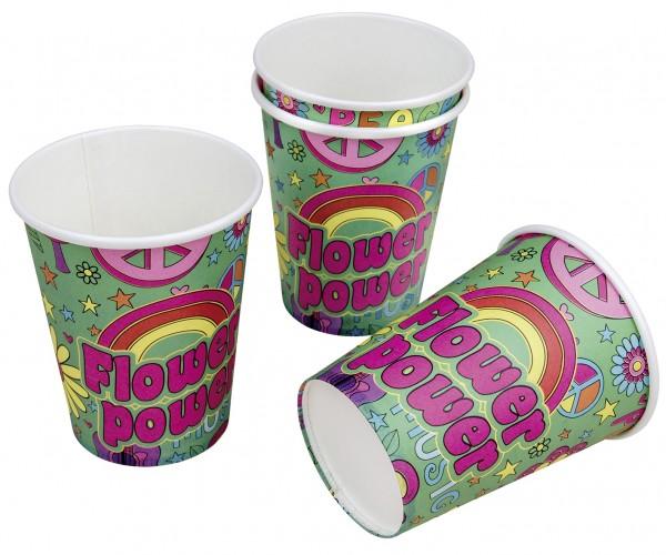 8 Flower Power Party Pappbecher 200ml