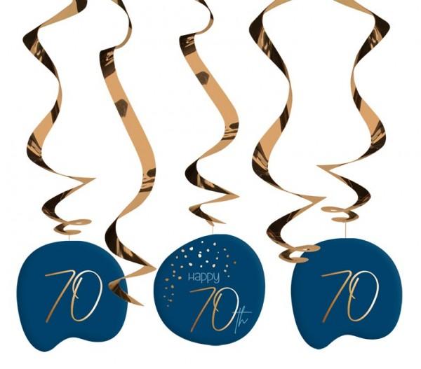 70. Geburtstag Hängedeko 5 Stück Elegant blue