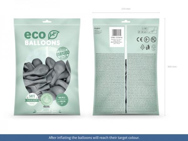 100 Eco Pastell Ballons grau 30cm