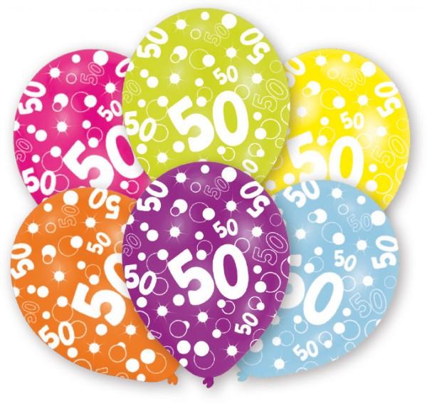 6 Bubbles 50th birthday balloons multicolored 27.5 cm
