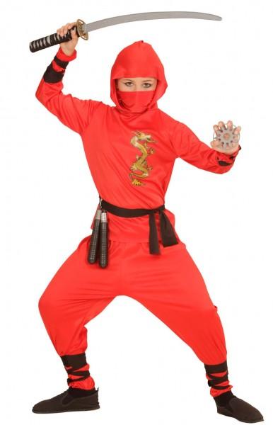 Ninja vechter kinderkostuum in rood