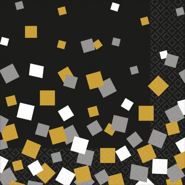 16 serviettes de table Nouvel An Disco Fever 33 cm