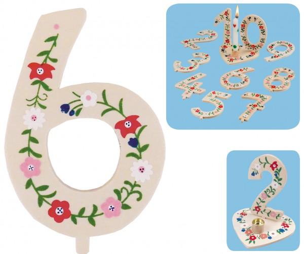 Geburtstagszahl 6 Blumengruß 10cm