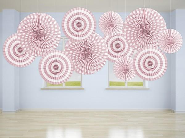 3 Spring Party Papierrosetten rosa