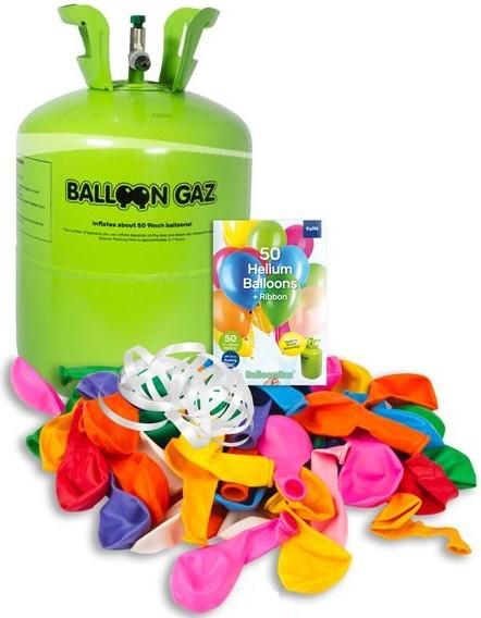 Heliumflasche mit 50 bunten Luftballons