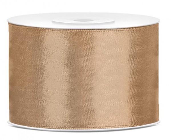 25m Satin Geschenkband hellgold 5cm breit