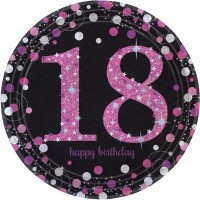 8 Pink 18th Birthday Pappteller 23cm