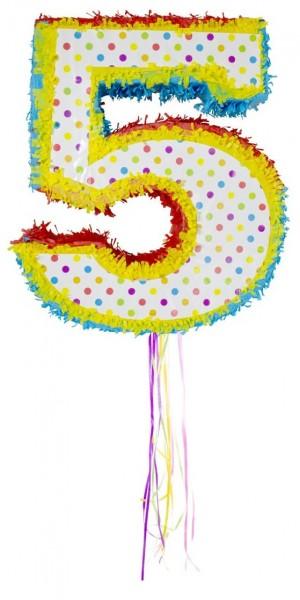 Colorful number 5 pinata
