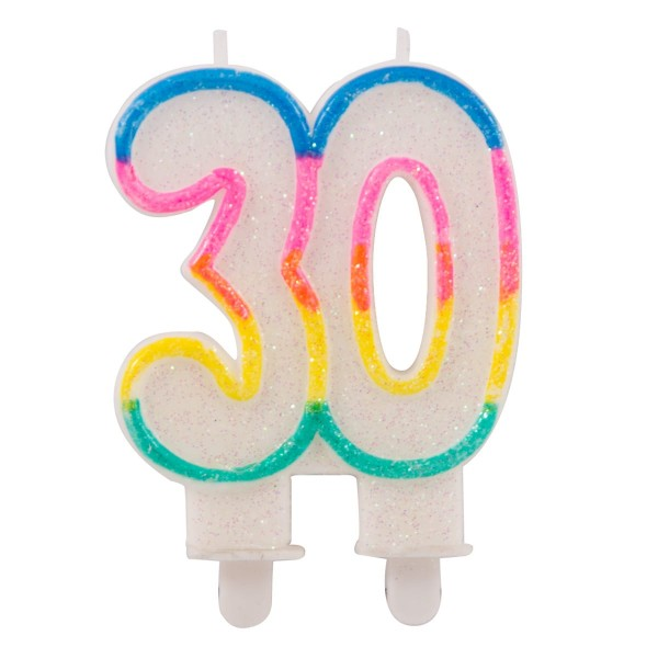 Rainbow number 30 cake candle